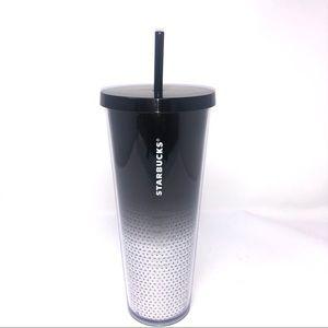 New 24oz Starbucks Blk White Sequin Tumbler Straw